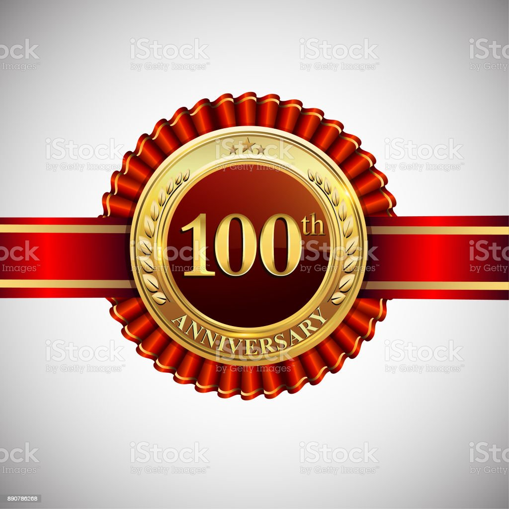 Celebrating 100th anniversary symbol, with golden badge and red ribbon isolated on white background. vector art illustration