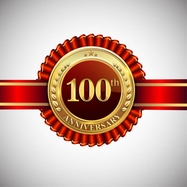 Celebrating 100th anniversary symbol, with golden badge and red ribbon isolated on white background. anniversary symbol, with golden badge and red ribbon isolated on white background. 100th anniversary stock illustrations