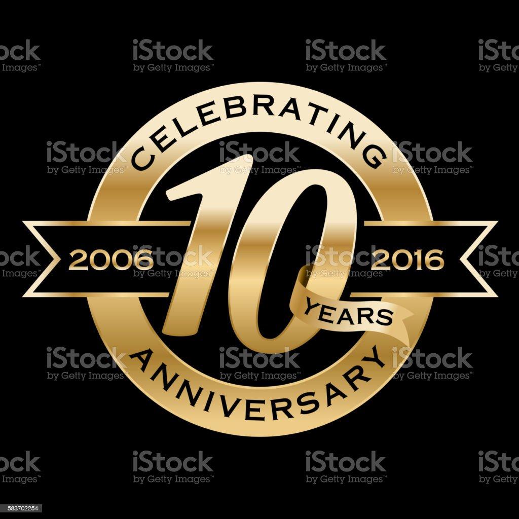 Celebrating 10th Years Anniversary vector art illustration