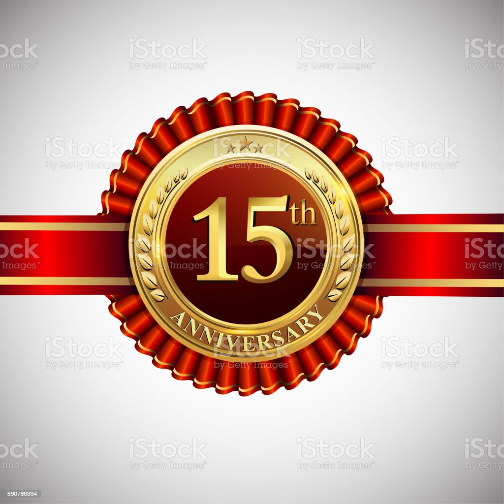 Celebrating 15th Anniversary Symbol With Golden Badge And Red Ribbon