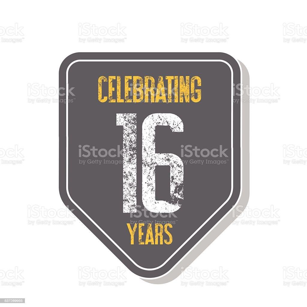 'Celebrating 16 years' banner. vector art illustration