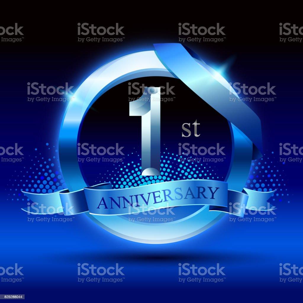 Feiert 1 Geburtstagdesign Mit Silberring Und Blaues Band Auf