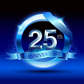 Celebrating 25th anniversary Design, with silver ring and blue ribbon isolated on blue black background.