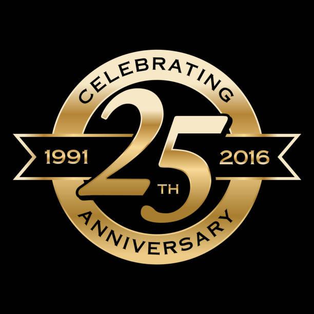 bildbanksillustrationer, clip art samt tecknat material och ikoner med celebrating 25th years anniversary - 25 29 år