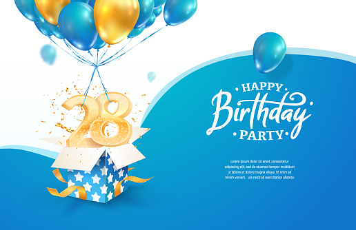 Celebrating 28th years birthday vector illustration. Twenty eight anniversary celebration. Adult birth day. Open gift box with numbers flying on balloons.