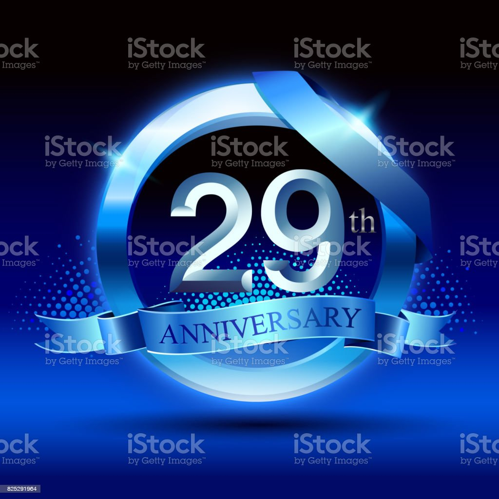Celebrating 29th anniversary Design, with silver ring and blue ribbon isolated on blue black background. vector art illustration