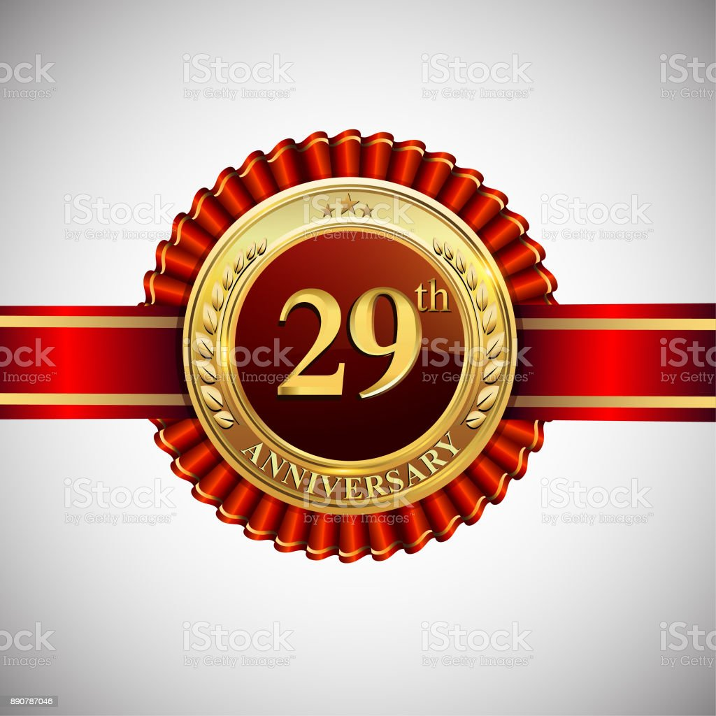 Celebrating 29th anniversary symbol, with golden badge and red ribbon isolated on white background. vector art illustration