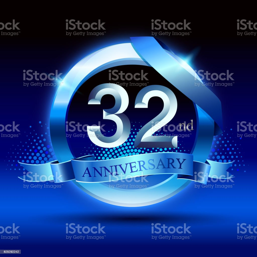 Celebrating 32nd anniversary Design, with silver ring and blue ribbon isolated on blue black background. vector art illustration