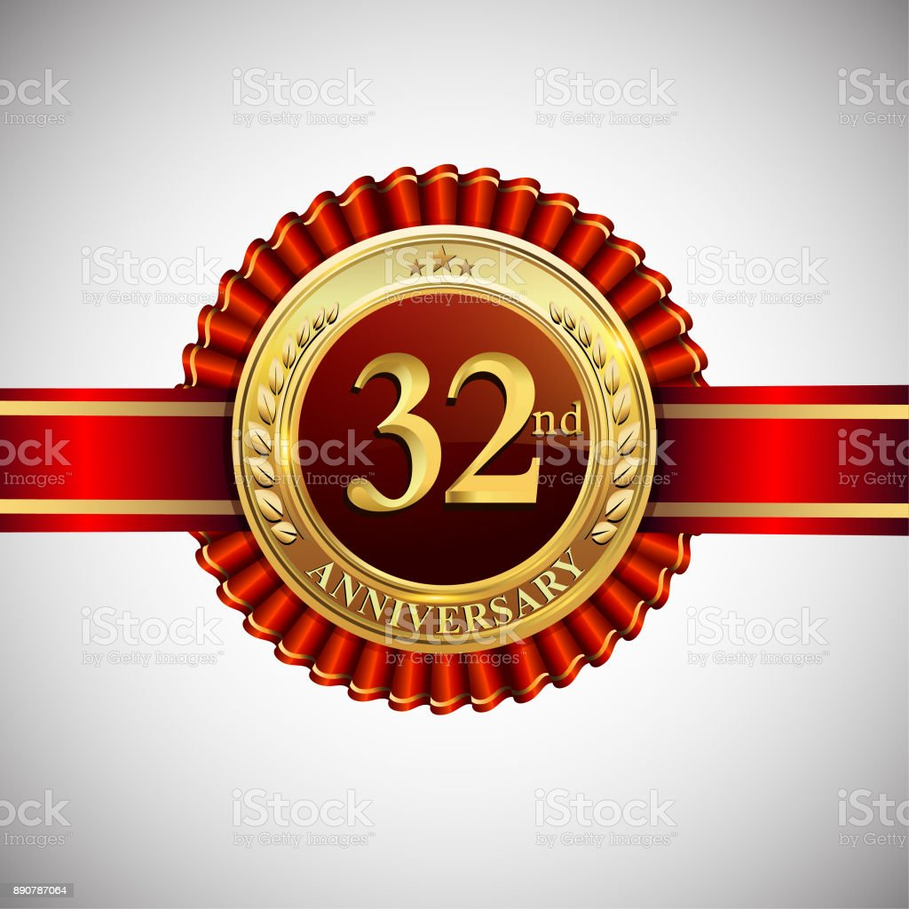 Celebrating 32nd anniversary symbol, with golden badge and red ribbon isolated on white background. vector art illustration