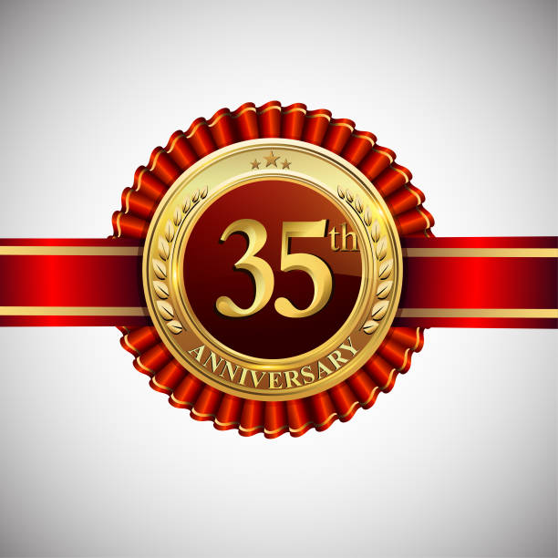 Royalty Free Anniversary 35th Sign Birthday Clip Art Vector Images