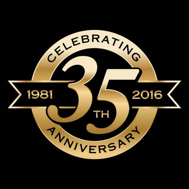 stockillustraties, clipart, cartoons en iconen met celebrating 35th year anniversary - 35 39 jaar