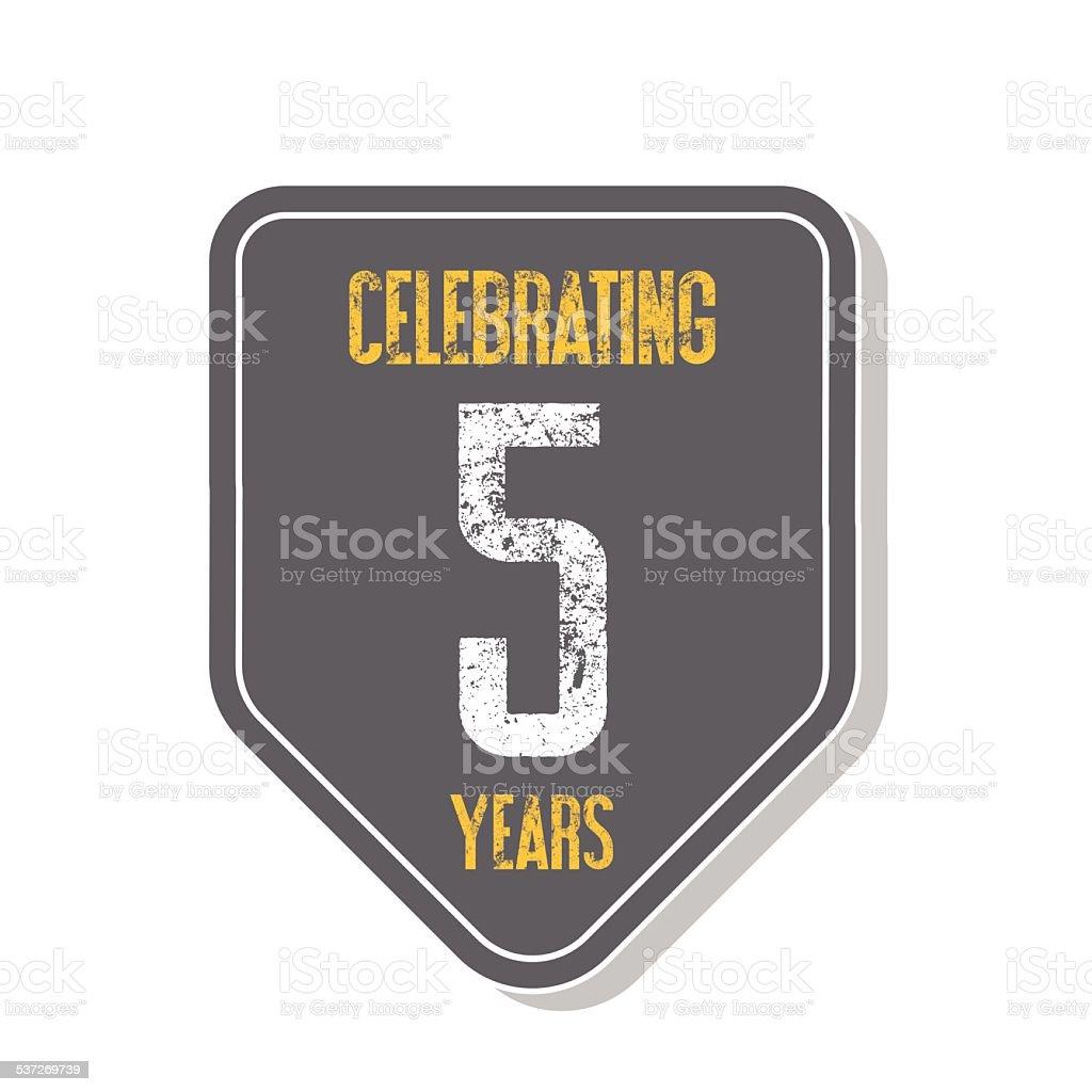 'Celebrating 5 years' banner. vector art illustration