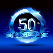 Celebrating 50th anniversary Design, with silver ring and blue ribbon isolated on blue black background.