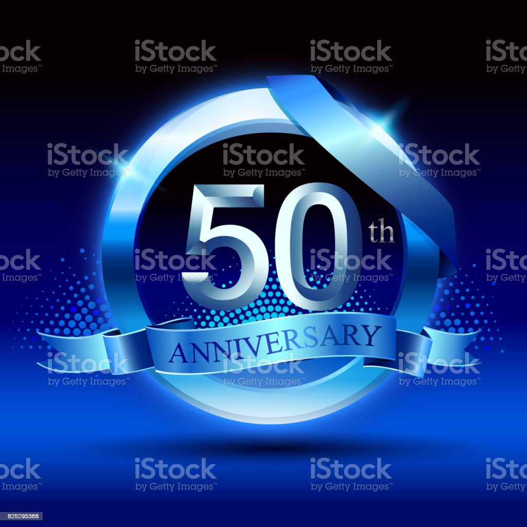 Celebrating 50th anniversary Design, with silver ring and blue ribbon isolated on blue black background. vector art illustration