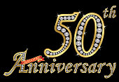 Celebrating  50th anniversary golden sign with diamonds, vector illustration