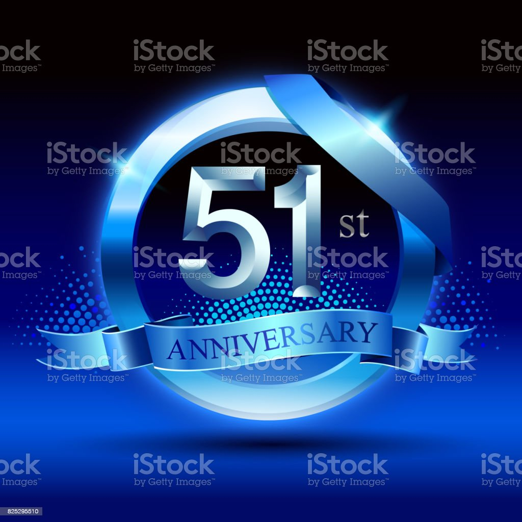 Celebrating 51st anniversary Design, with silver ring and blue ribbon isolated on blue black background. vector art illustration