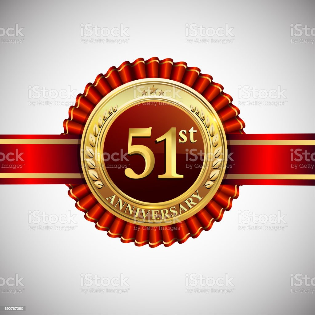 Celebrating 51st anniversary symbol, with golden badge and red ribbon isolated on white background. vector art illustration