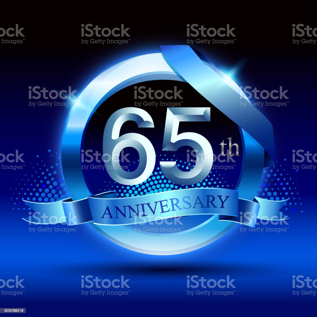 Celebrating 65th anniversary Design, with silver ring and blue ribbon isolated on blue black background. vector art illustration