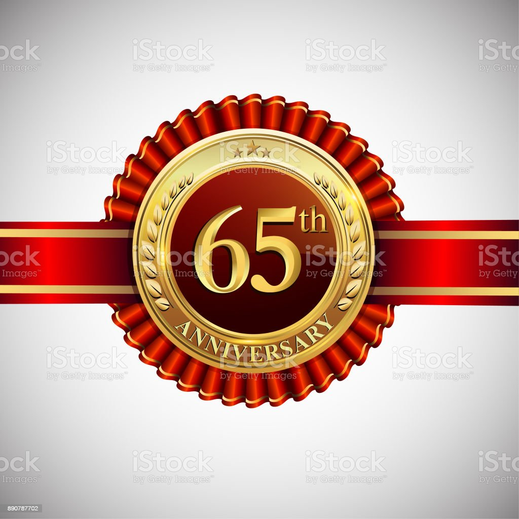 Celebrating 65th anniversary symbol, with golden badge and red ribbon isolated on white background. vector art illustration