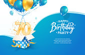 istock Celebrating 70th years birthday vector illustration. Seventy anniversary celebration. Adult birth day. Open gift box with numbers three and eight flying on balloons 1323831377