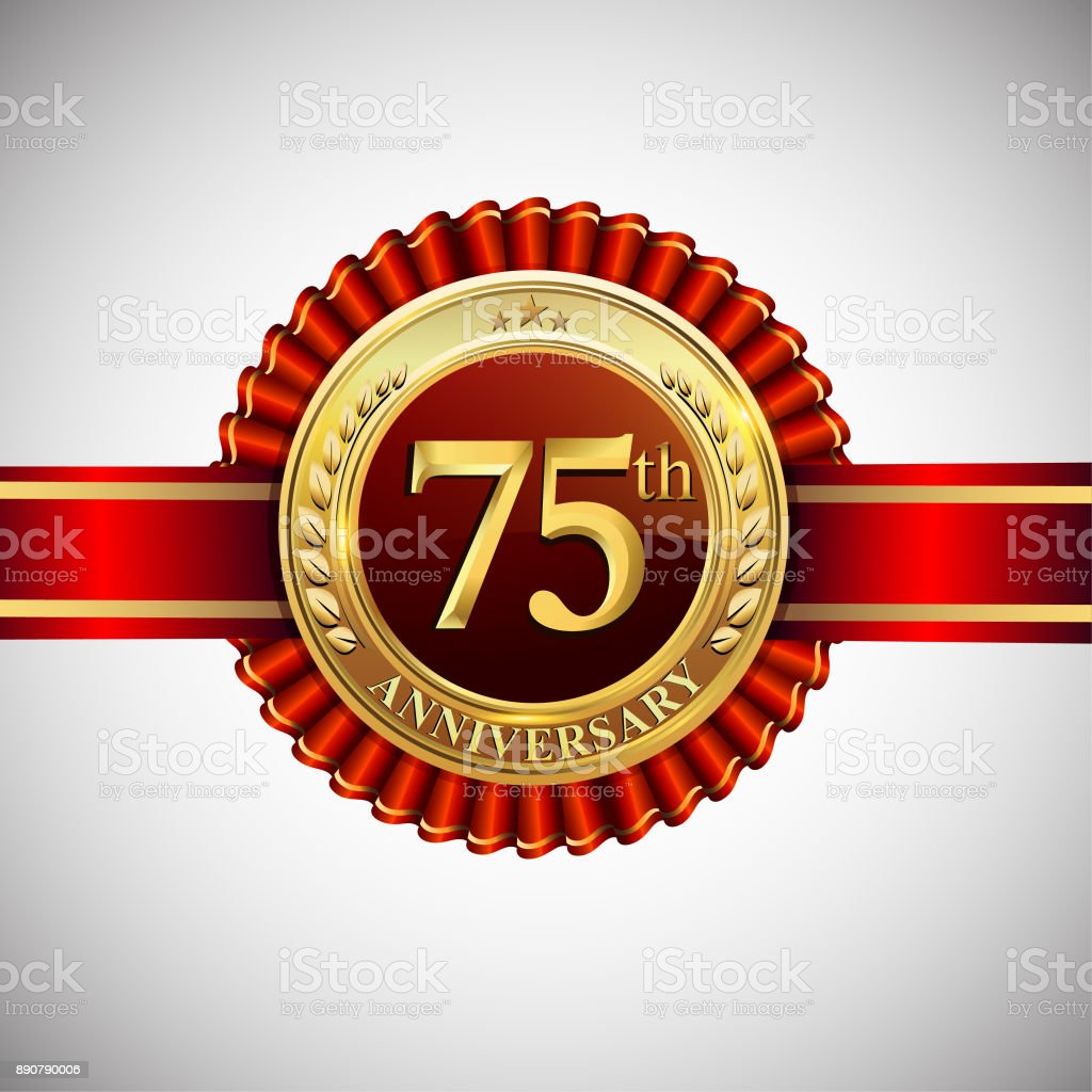 Celebrating 75th Anniversary Symbol With Golden Badge And Red Ribbon