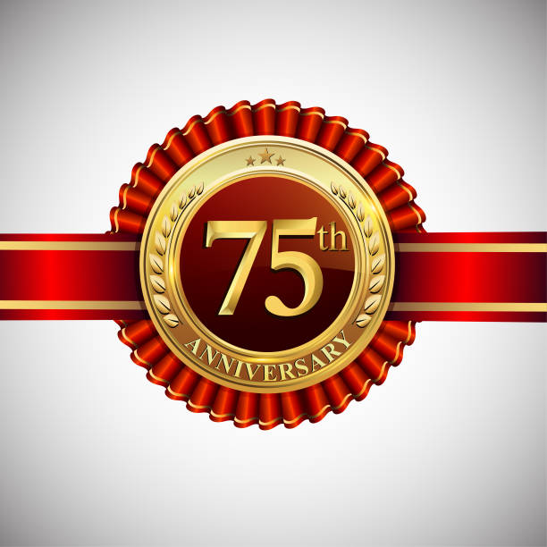 Celebrating 75th anniversary symbol, with golden badge and red ribbon isolated on white background. vector art illustration