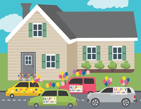 Celebrating A Birthday With A Car Parade