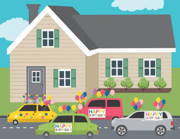 bildbanksillustrationer, clip art samt tecknat material och ikoner med firar en födelsedag med en bilparad - parad