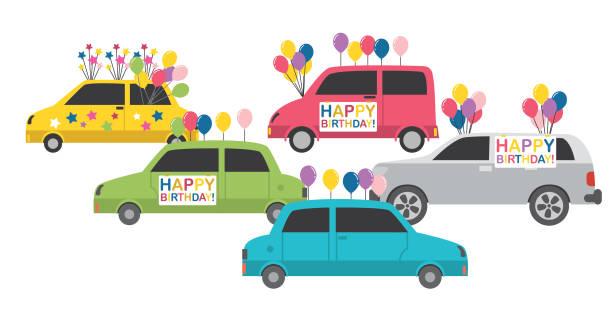 bir sürüş geçit töreni ile bir doğum günü kutluyor - geçit töreni stock illustrations