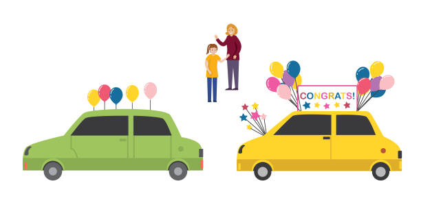 Celebrating A Birthday With A Driving Parade vector art illustration