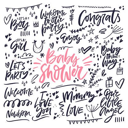 Celebrating baby shower hand drawn phrases set