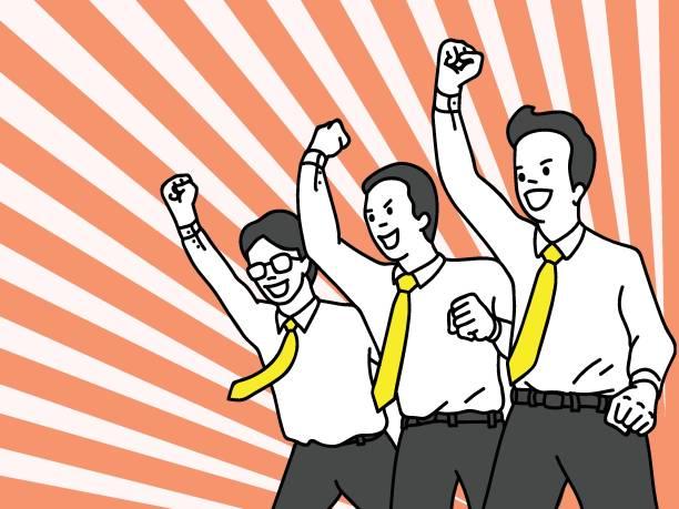 stockillustraties, clipart, cartoons en iconen met vieren zakenman team - cheering