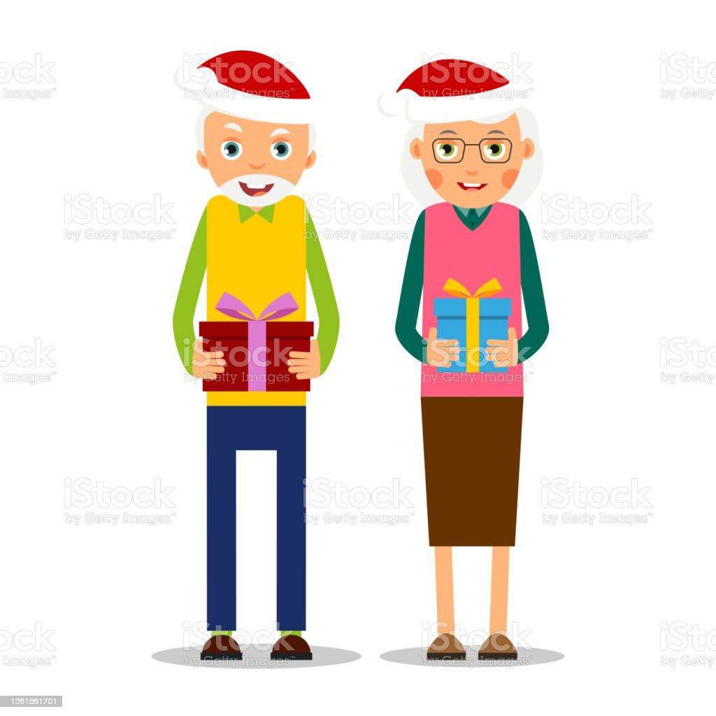 Celebrating Christmas With The Elderly Older Couple With Presents For  Christmas Grandmother And Grandfather Stand Together And Hold In Hands Gifts  Illustration In Flat Style Isolated Vector Stock Illustration - Download  Image