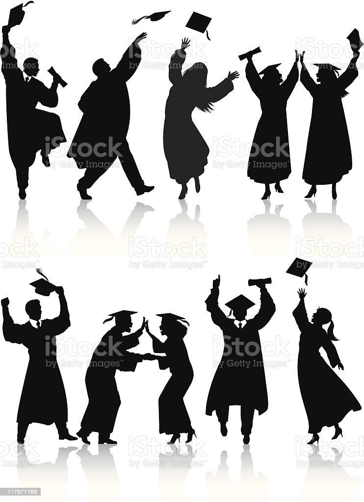 Celebrating graduate silhouettes vector art illustration