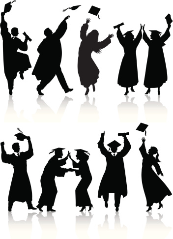 graduation silhouettes stock illustrations