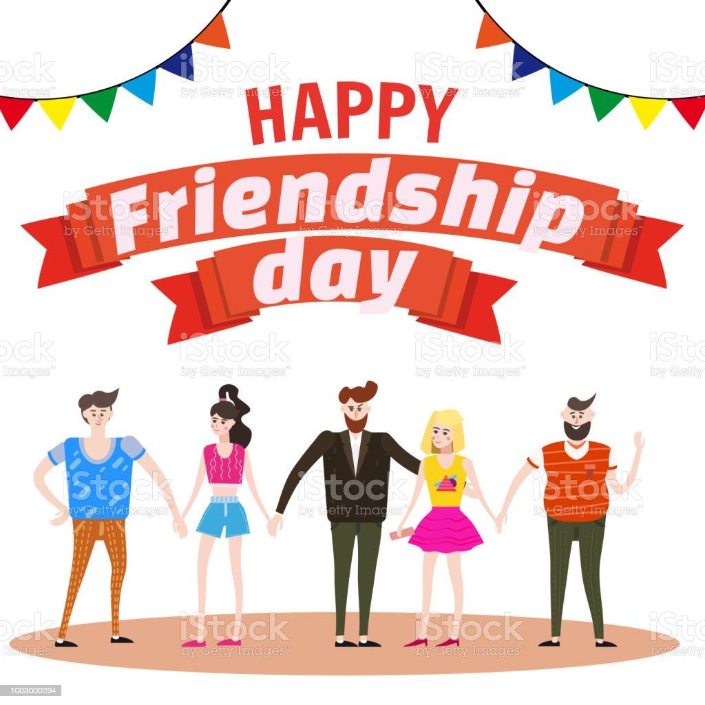 Ilustración De Celebra El Grupo De Amigos Felices Disfrutando El Día