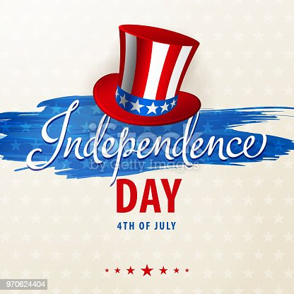 Celebrate the American Independence Day with American hat on the date 4th of July