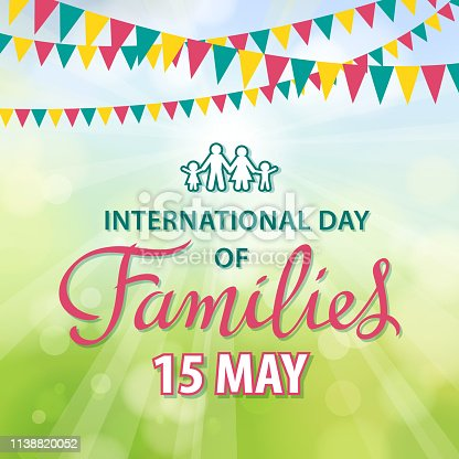 Celebrating the International Day of Families on 15 May annually with bunting and family symbol, reflecting the importance of family