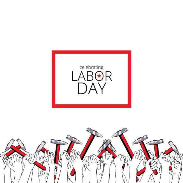 celebrating labor day, september 4, 2017 - may day stock illustrations, clip art, cartoons, & icons