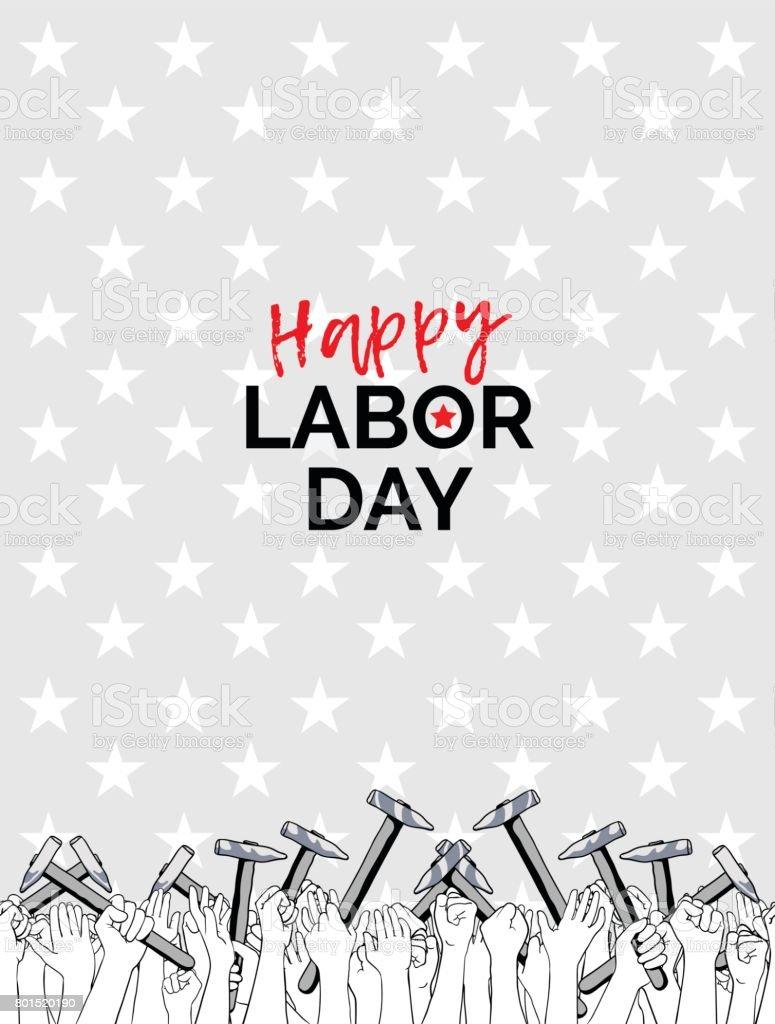 Celebrando el día del trabajo, 04 de septiembre de 2017 - ilustración de arte vectorial