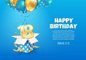 istock Celebrating of 18 th years birthday vector illustration. Eighteen anniversary celebration. Teenage birth day. Open gift box with numbers one and eight flying on balloons 1243178407