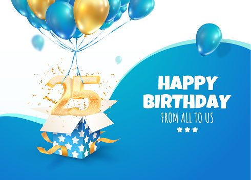Celebrating of 25 th years birthday vector 3d illustration. Twenty-five anniversary celebration. Open gift box with explosions confetti and two and five golden numbers flying on balloons on light back