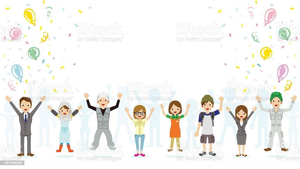 Celebrating people vector art illustration