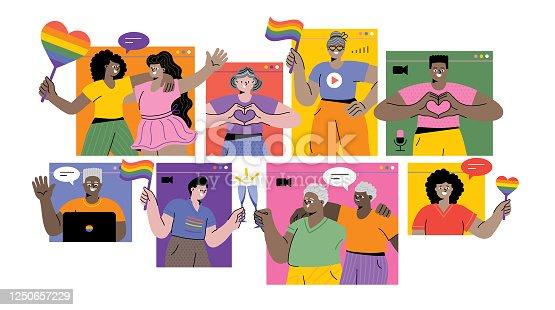 istock Celebrating Pride month online 1250657229