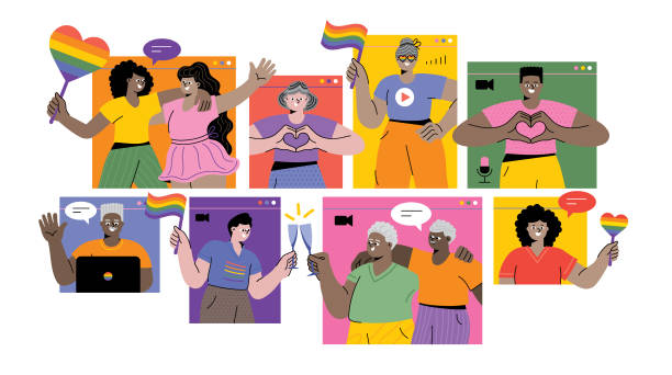 Celebrating Pride month online LGBTQI Pride Virtual Event. Editable vectors on layers. gay person stock illustrations