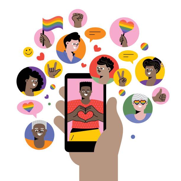 ilustrações, clipart, desenhos animados e ícones de celebrando o orgulho nas mídias sociais - lgbt