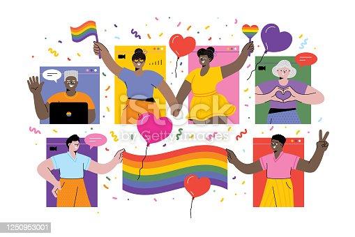 LGBTQI Pride Virtual Event. Editable vectors on layers.