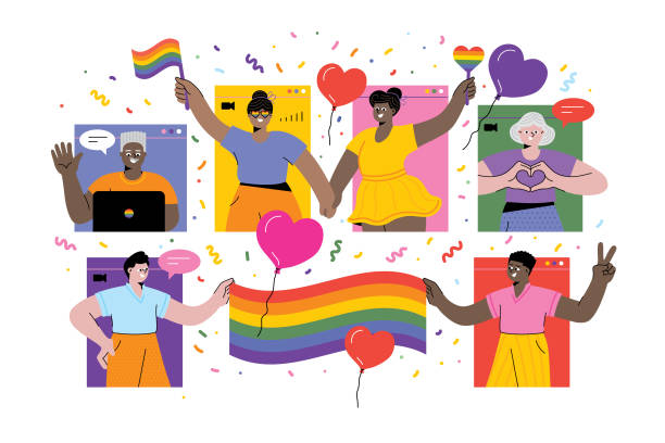 Celebrating Pride online LGBTQI Pride Virtual Event. Editable vectors on layers. gay person stock illustrations