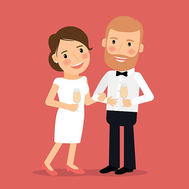 wir feiern die romantische paar symbol - glasohrringe stock-grafiken, -clipart, -cartoons und -symbole