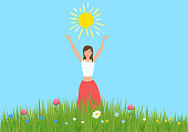 Girl raised her hands and enjoys the sun in a meadow with flowers. Celebrating the summer solstice in June. Vector illustration.